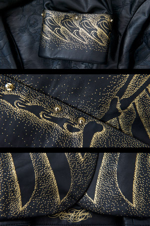 David Walsh, leather jacket 24K gold and laser etching, Sonia Heap